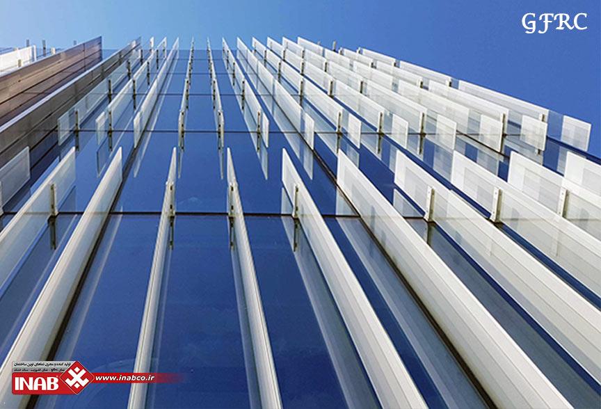 ترکیب لوور جی ار سی grc با نمای شیشه ای