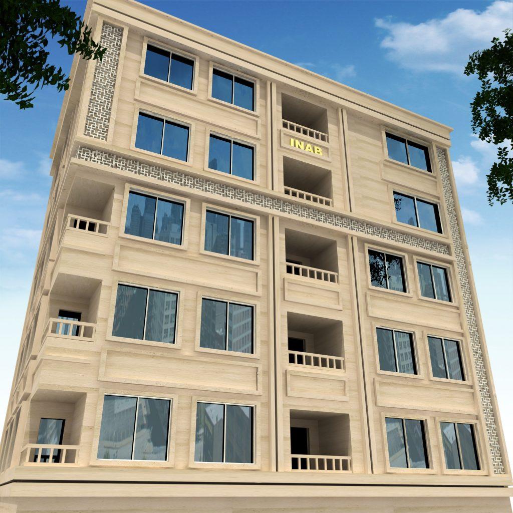 نمای ساختمان ترکیبی | جی اف ار سی و سنگ
