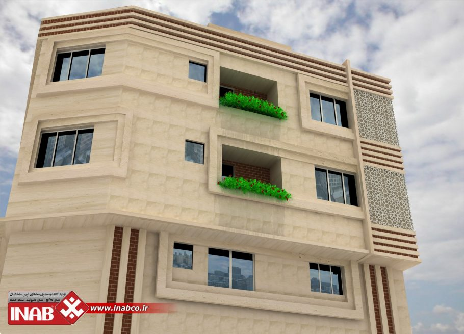 طراحی نمای ساختمان مسکونی 3 طبقه | سه طبقه
