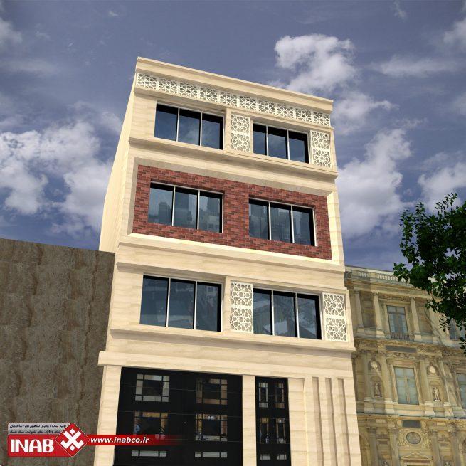 طراحی نمای ساختمان سه طبقه | مسکونی