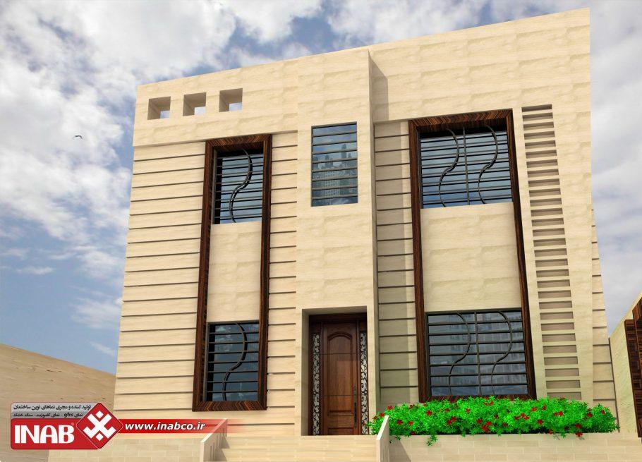 طراحی نمای ساختمان مسکونی یک طبقه | ویلایی