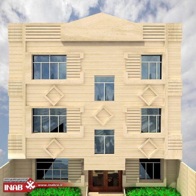 طراحی نمای ساختمان مسکونی سه طبقه | 3 طبقه