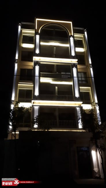 نمای ساختمان مسکونی | نورپردازی نمای ساختمان