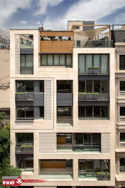نمای ساختمان مدرن | نمای ترکیبی سنگ و جی اف ار سی