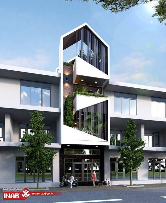 طرح نمای ساختمان مدرن | اداری | تجاری