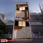 نمای ساختمان مدرن   نمای ترکیبی چوب و سنگ مشبک