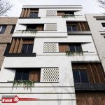 نمای ساختمان ترکیبی   چوب و سنگ