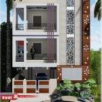 نمای ساختمان مسکونی مدرن   دو طبقه