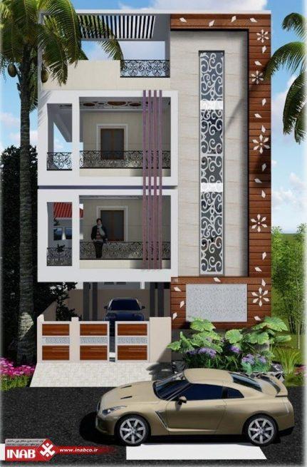 طرح نمای ساختمان مسکونی مدرن | دو طبقه