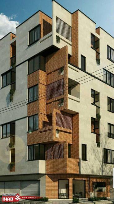 نمای ساختمان مسکونی مدرن   سر نبش