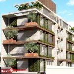 گل و گیاه در نمای ساختمان مسکونی