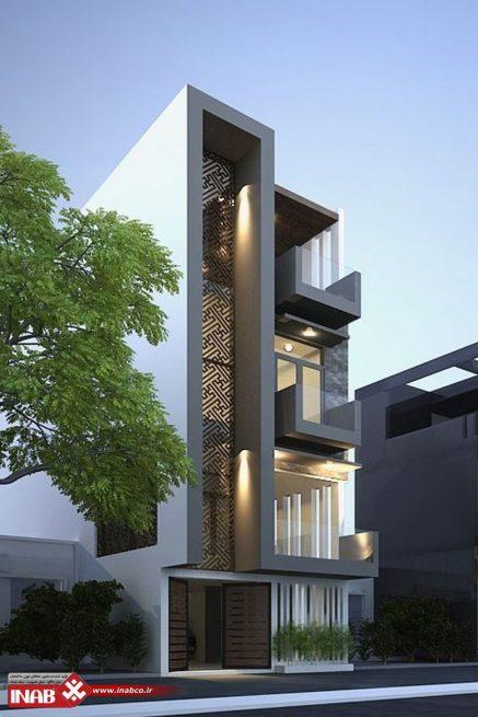 طرح نمای ساختمان مسکونی مدرن