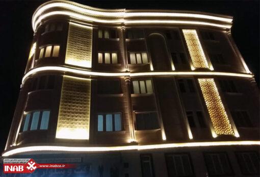 پنل جی اف ار سی در نمای ساختمان | شب