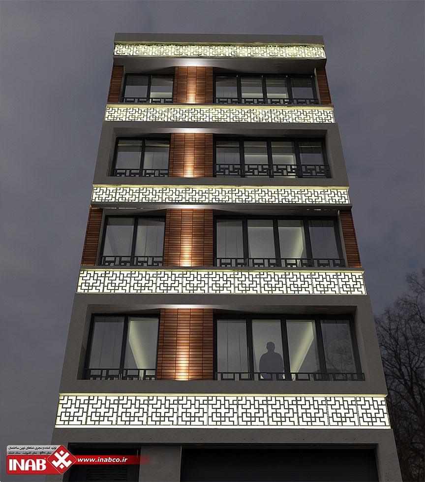 جی اف ار سی در طراحی نمای ساختمان مسکونی | 4 طیقه