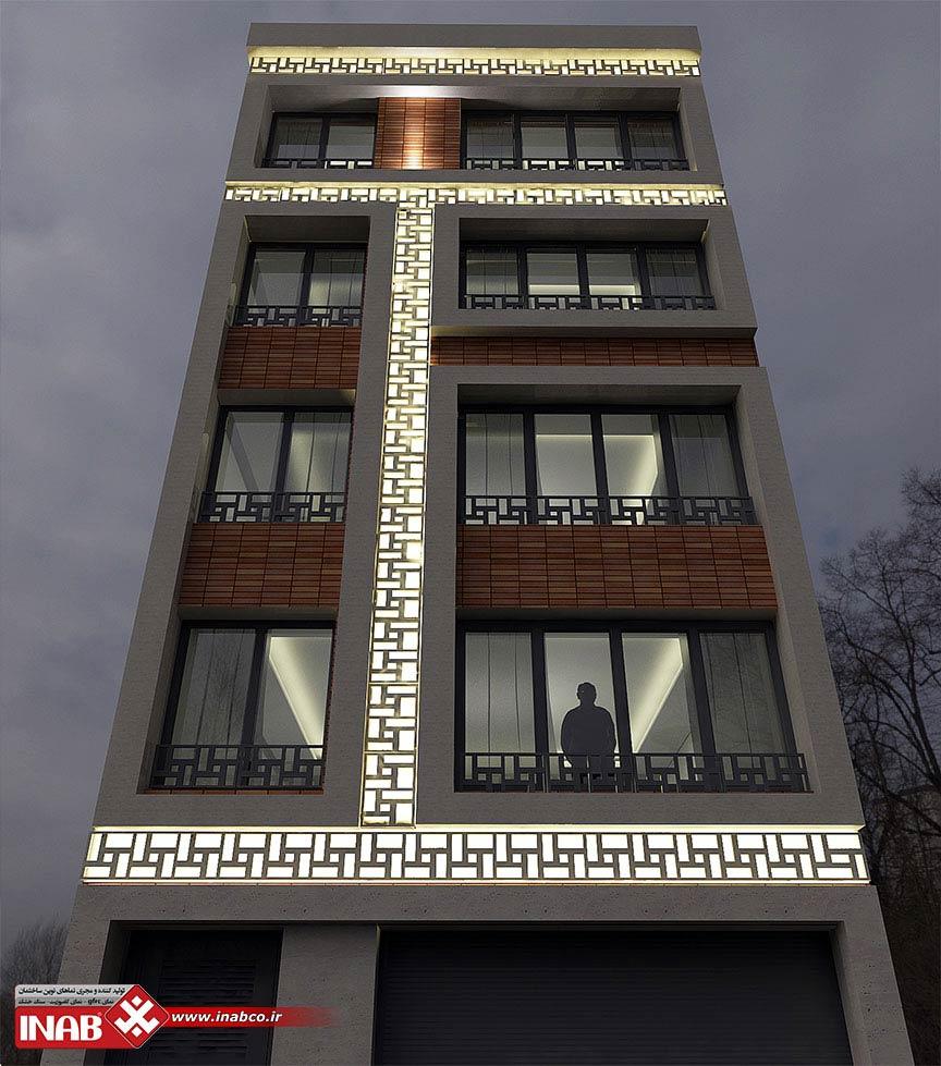 جی اف ار سی GFRC در طراحی نمای ساختمان مسکونی | 4 طیقه