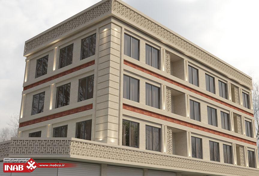 طراحی نمای ساختمان 3 طبقه