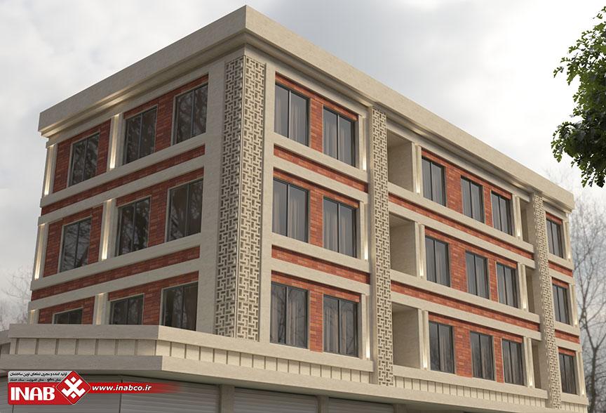 طراحی نمای ساختمان ترکیبی 3 طبقه