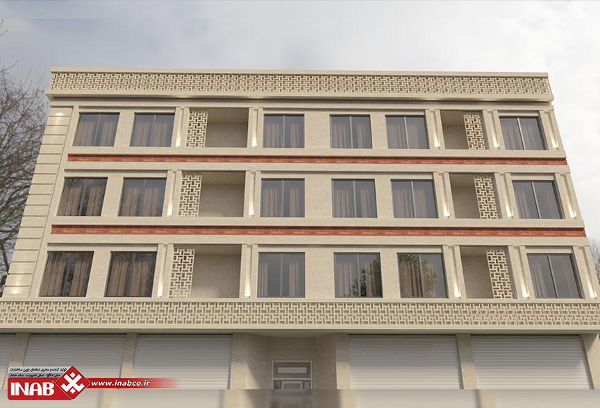 طراحی نمای ساختمان سه طبقه