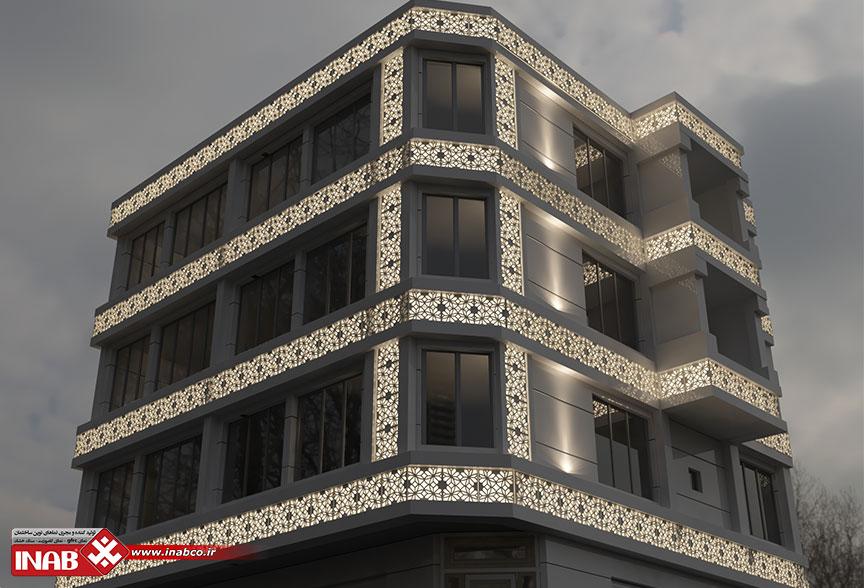 طراحی نمای ساختمان سر نبش