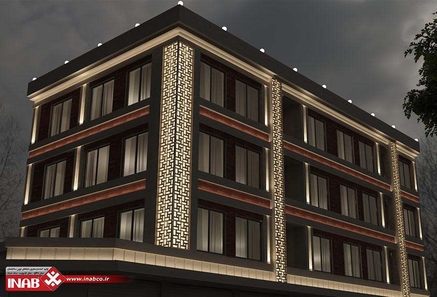 طرح نمای ساختمان ترکیبی   gfrc + آجر + سنگ