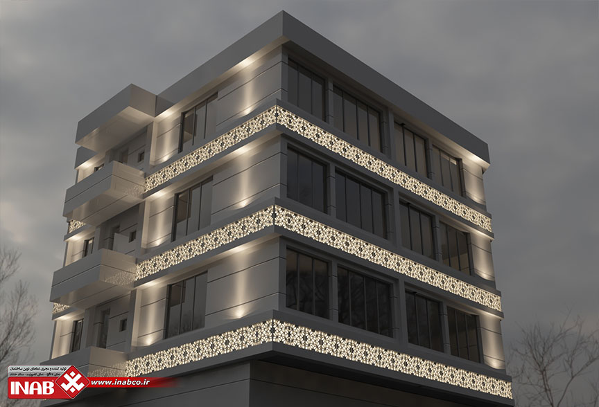 نمای ساختمان دو نبش | جی ار سی grc در شب
