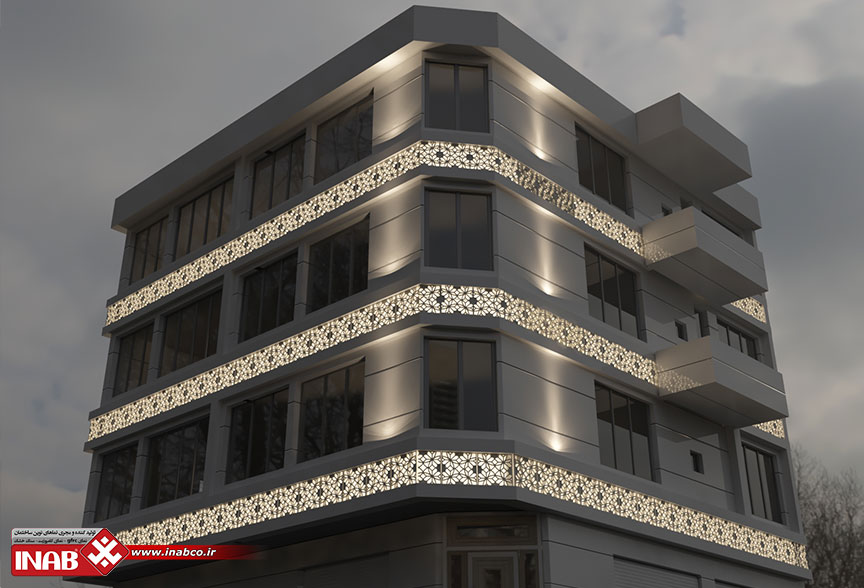 طراحی نمای ساختمان دو نبش
