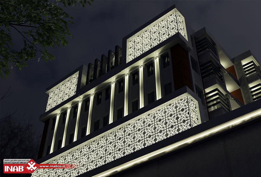 طراحی نمای ترکیبی   جی اف ار سی + سنگ