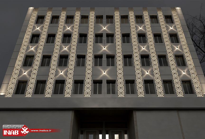 طراحی تخصصی نمای ساختمان   نورپردازی نمای gfrc