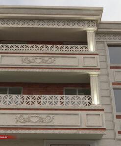 طراحی نمای ساختمان دو طبقه | جی ار سی + سنگ نما