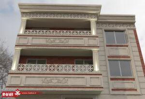 طراحی نمای ساختمان دو طبقه   جی ار سی + سنگ نما