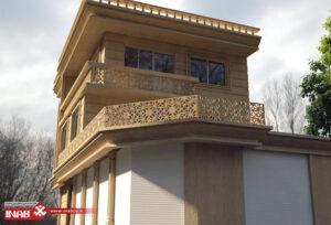 طراحی نمای ساختمان یک طبقه ویلایی با جی ار سی و سنگ تراورتن