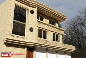 طرح نمای ویلا یک طبقه - جی ار سی - نمای مشبک