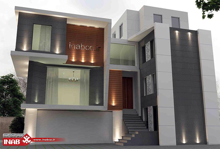 طراحی نمای ساختمان مسکونی - دوطبقه - ویلایی